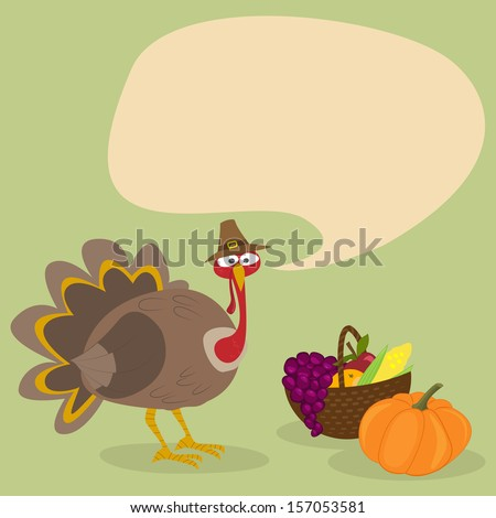 Thanksgiving Holiday Turkey with sign.  Vector illustration . - stock vector