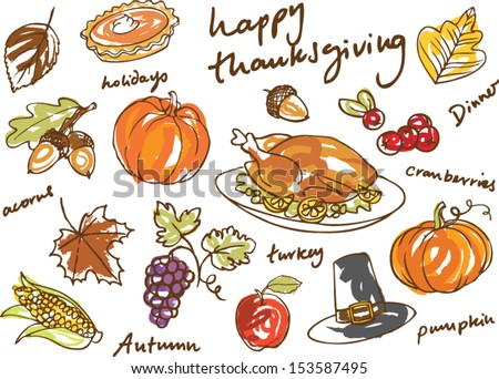 Thanksgiving icon doodle vector illustration - stock vector