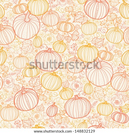 Thanksgiving line art pumkins seamless pattern background - stock vector