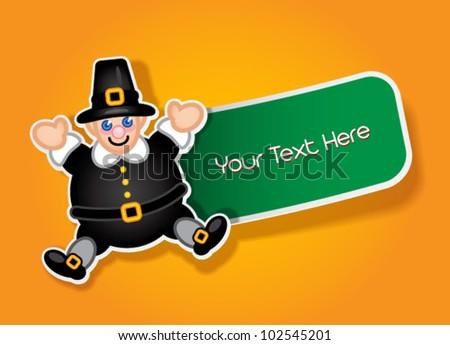 Thanksgiving Pilgrim Label / Sticker - stock vector