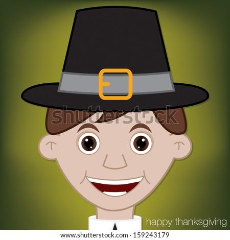 Thanksgiving Pilgrim man character in vector format. - stock vector