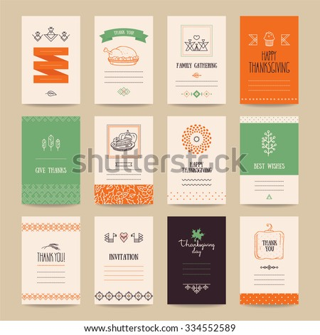 Thanksgiving poster, banner, invitation, greeting card, flyer, menu templates. Hand drawn traditional symbols, cute design elements, handwritten ink lettering, thin line icons, tribal geometric signs. - stock vector