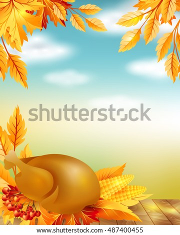 Thanksgiving poster with decorative design elements and blue sky background.
