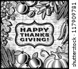 Thanksgiving Retro Card black and white. Vector - stock vector