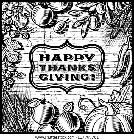 Thanksgiving Retro Card black and white. Vector - stock vector