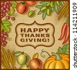 Thanksgiving Retro Card. Vector - stock vector