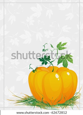 Thanksgiving, ripe  pumpkin  with green leaves and grass, greeting card - stock vector