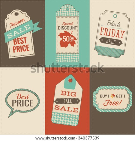 Thanksgiving Sale Tags with blues and greens, Fall sale Tags,  Autumn sale, seasonal sale tags and graphic icons and banners with Fall Sale elements  - stock vector