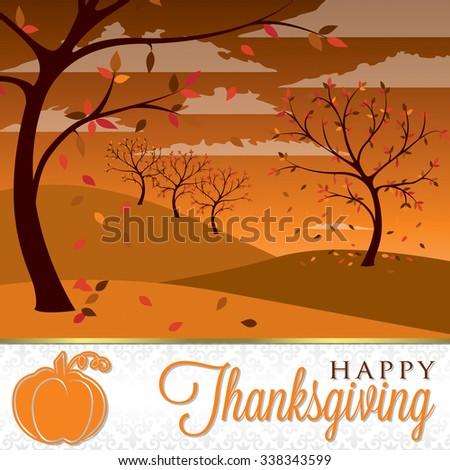 Thanksgiving scene card in vector format - stock vector