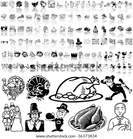 Thanksgiving set of black sketch. Part 1. Isolated groups and layers. - stock vector