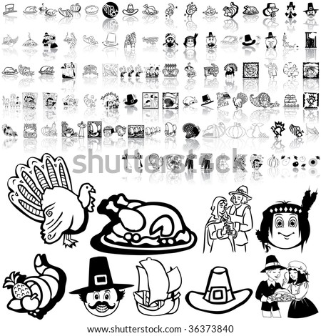 Thanksgiving set of black sketch. Part 3. Isolated groups and layers. - stock vector