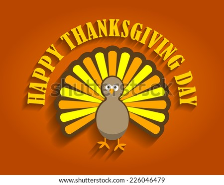 Thanksgiving Turkey Bird Cartoon Design - Happy Thanksgiving Day - stock vector