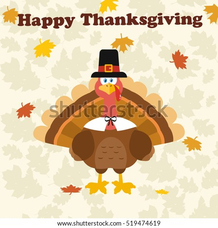 Thanksgiving Turkey Bird Wearing A Pilgrim Hat Under Happy Thanksgiving Text. Vector Illustration Flat Design Over Background With Autumn Leaves