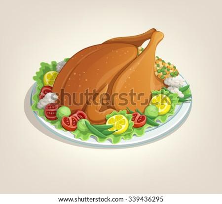 Thanksgiving turkey dish menu delicious illustration White background - stock vector