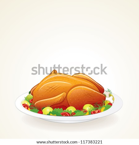 Thanksgiving Turkey with Fruits and Vegetables on a Tray. Isolated Vector Illustration. - stock vector