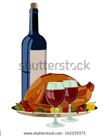 Thanksgiving Turkey with Fruits and Vino. Isolated Vector Illustration. - stock vector