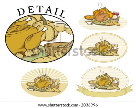 "Thanksgiving Turkey with pumpkin,pumpkin pie,potatoes,salad,vegetables,gravy,bread & wine. Woodcut style illustration in color & ""duotone"", available in several backgrounds - stock vector"