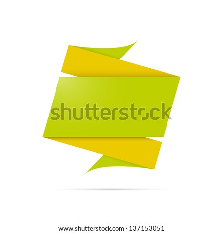 The abstract blank origami label ready for your text / abstract origami label - stock vector