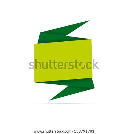 The abstract blank origami style label ready for your text / green origami style label - stock vector