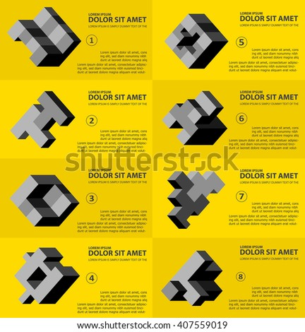 The abstract three-dimensional cube as an element of design template - stock vector