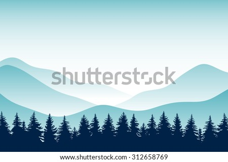The abstract vector image. Panorama of mountain ridges with forest in the foreground. Background ridge with spruce forest in the foreground. Coniferous forest. Background. Landscape. Horizon. - stock vector