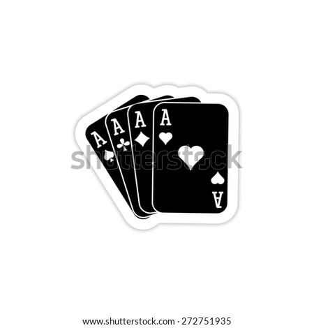 The Ace icon. Playing Card Suit symbol icon on a white background with shadow