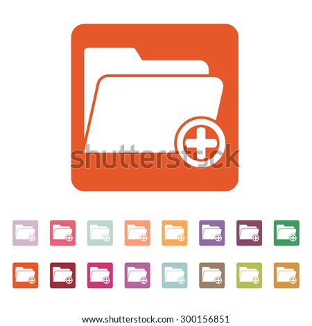 The add to folder icon. Data and directory, archive, storage symbol. Flat Vector illustration. Button Set - stock vector