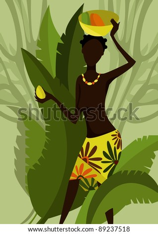 The African girl holding on a head a dish with fruit - stock vector