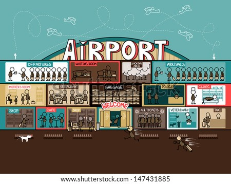 The airport building from the inside - stock vector