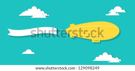 the airship with tape - stock vector