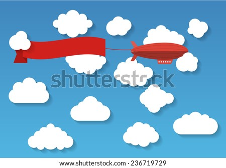 The airship with tape. EPS10 Vector - stock vector