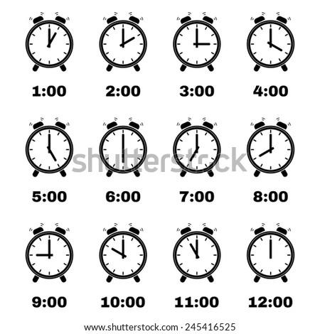 The Alarm clock icon.  Alarm clock symbol. Flat. Vector illustration. Set - stock vector