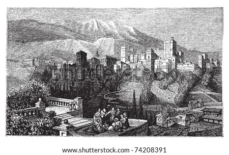 The Alhambra, in Granada, Spain. Old engraving around 1890, showing a group of people in front of the Alhambra fortress, also called the Red Palace. - stock vector