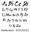 The alphabet in calligraphy brush. See the figures and symbols in my portfolio - stock photo