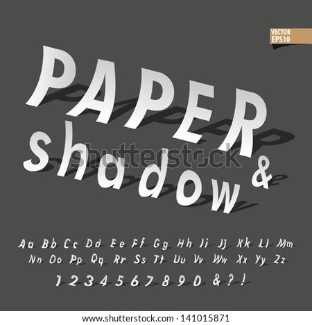 The alphabet in paper and shadow font set design, vector eps10 illustrator - stock vector