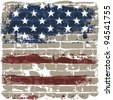 The American flag symbol against a brick wall. - stock vector
