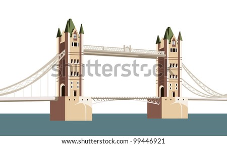 the ancient bridge over the river - stock vector