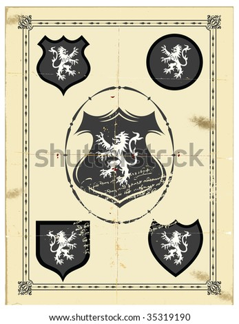 The ancient monogram heraldic lion. - stock vector
