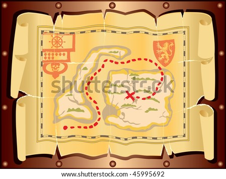 The ancient symbol map the location of treasures. - stock vector