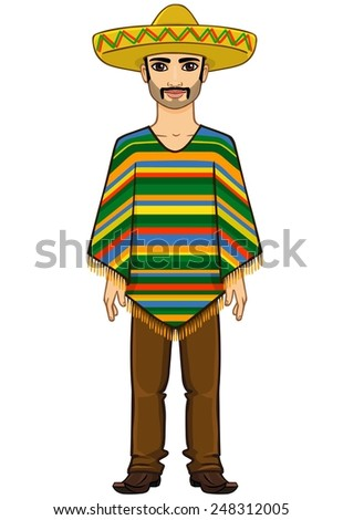 The animation Mexican man in a poncho and a sombrero. Isolated on a white background. - stock vector