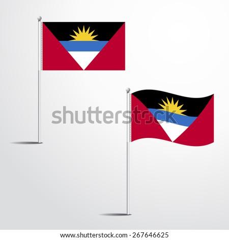 The Antigua and Barbuda flag normal and waving flag set | abstract flag vector eps 10  - stock vector