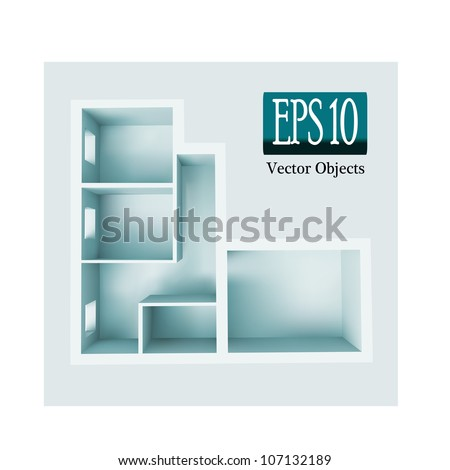 The architectural project of apartment, vector 10 eps - stock vector