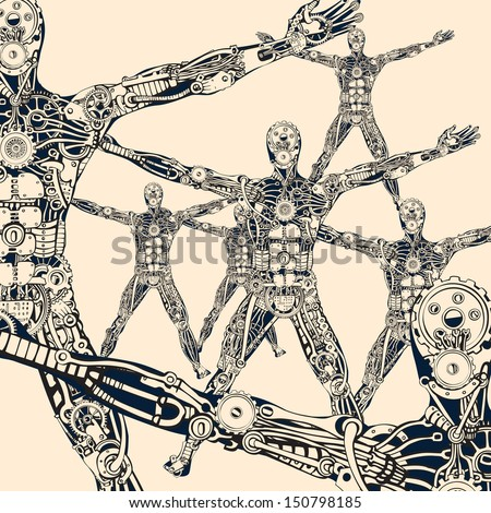 The architecture of evolutionary synthesis. Robotics. - stock vector