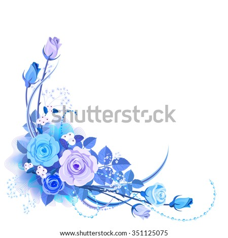 The arrangement from blue roses. Bouquet of blue flowers is located at the bottom left corner of illustration on white background. It can be used for wedding invitations. - stock vector