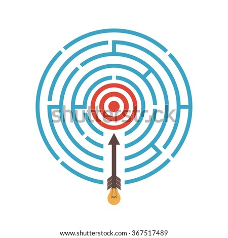 the arrow direct to target with idea, isolated on white background, business concept - stock vector