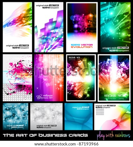 The art of business card Collection: play with rainbows. A collection of backgrounds full of stars, ray lights, glitters and luminance elements. - stock vector