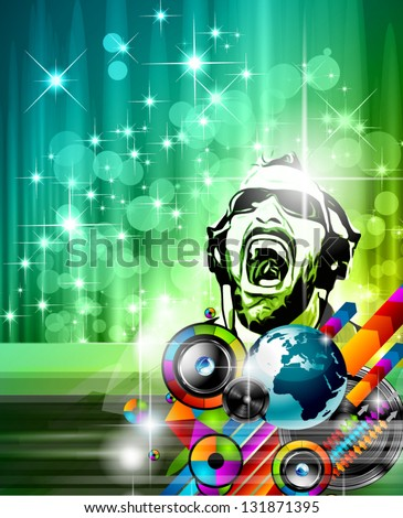 The Art of Disco Flyer - Stunning Speakers with a Disk Jokey shape and a lot of stars and ray lights. - stock vector