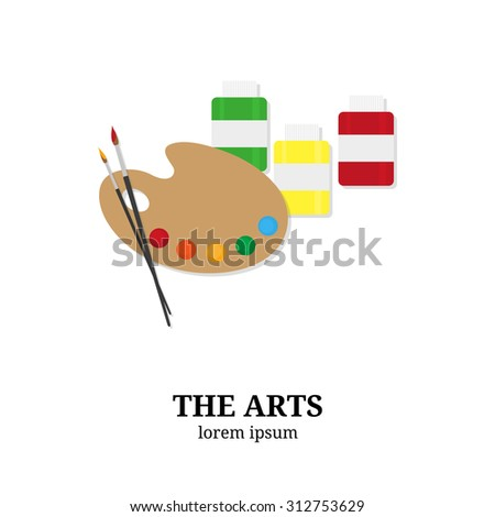 The Arts. Palette, paintbrushes and paints isolated on white background. Flat style elements. Fine art concept. - stock vector