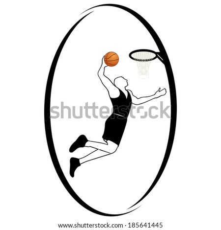 The athlete with the ball for the game of basketball. Illustration on white background. Summer kinds of sports. Illustration on a sports theme. - stock vector