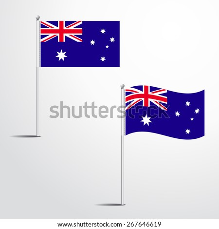 The Australia flag normal and waving flag set | abstract flag vector eps 10  - stock vector